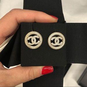 Brand New Chanel rhinestone allover earrings